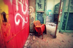 be. (artsy_T) Tags: old red abandoned yellow chair decay turquoise detroit busted picnik