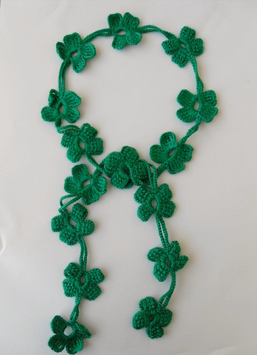 Crocheted 4 Leaves Forest Green Clover Necktie,Shawl,Scarf,Necklace,Free Shipping,St Patricks Day-20 usd