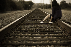 (ashley rose,) Tags: railroad train 50mm boards rocks alone dof bokeh traintracks tracks explore sick sets explored 50mm18f ashleyrose canonrebelxsi ashleyrosex iamsofuckingsickoffeelingthisway
