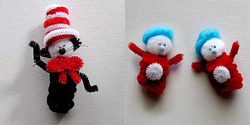 drseuss pompoms pipecleaners catinthehat childrensbooks kidscrafts thingoneandthingtwo