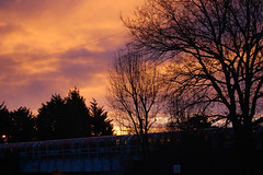 Sunrise over Debden tube! (carrotsann) Tags: morning pink sky silhouette sunrise underground tube urbansunr