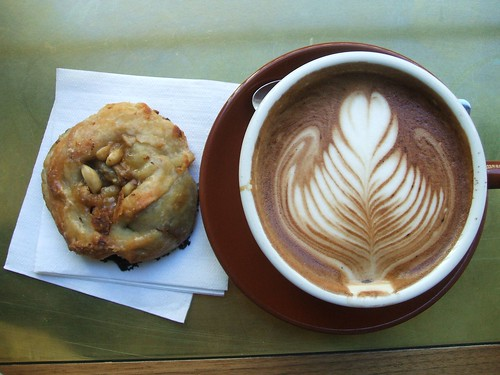 peanut butter banana walnut danish & stumptown latte.