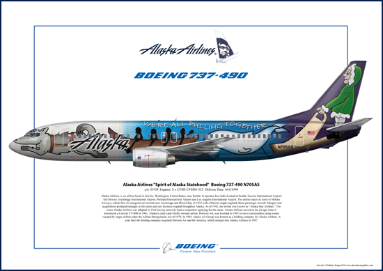 Alaska Airlines , Spirit of Alaska Statehood, Boeing 737-490 N705AS