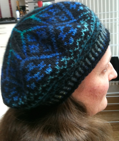 Stranded colourwork tam, from the side