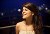 Bokeh Night (David Olkarny Photography) Tags: trip blue brussels sky color girl smile amsterdam night hair 50mm girlfriend belgium bokeh availablelight balcony 5dmarkii davidolkarny