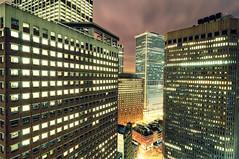 Among the Giants, Lower Manhattan, NYC (andrew c mace) Tags: city nyc longexposure roof newyork rooftop night downtown manhattan tokina1224 financialdistrict waterstreet lowermanhattan pearlstreet newyorkatnight hanoversquare nikoncapturenx nikond90