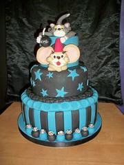 Ashleys tom and jerry cake (Pagancakegirl) Tags: blue black cakes tom stars stripes acme jerry bomb dawns wwwauroracakescom