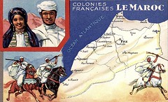 French Occupation of Morocco - Chromo, c 1930s (ronramstew) Tags: old horses woman man france vintage french 1930s northafrica map postcard rifles morocco berber maroc fantasia maghreb marruecos marokko francais berbers tribesmen maghrib lemaroc