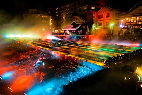 Special Lightup of Yubatake, Kusatsu Onsen, Japan 草津溫泉湯畑特別燈光秀