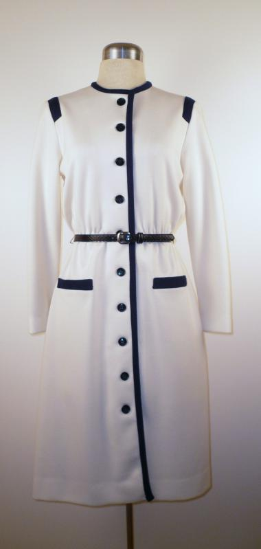 Front - Cream Knit Dress with Navy Trim