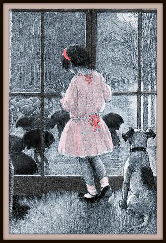 children, little girl by rainy day window