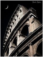 Clove of Colosseo... (Giulio Pugliese) Tags: moon rome roma monumento luna crescent colosseum colosseo marmo oldrome spicchio anticaroma
