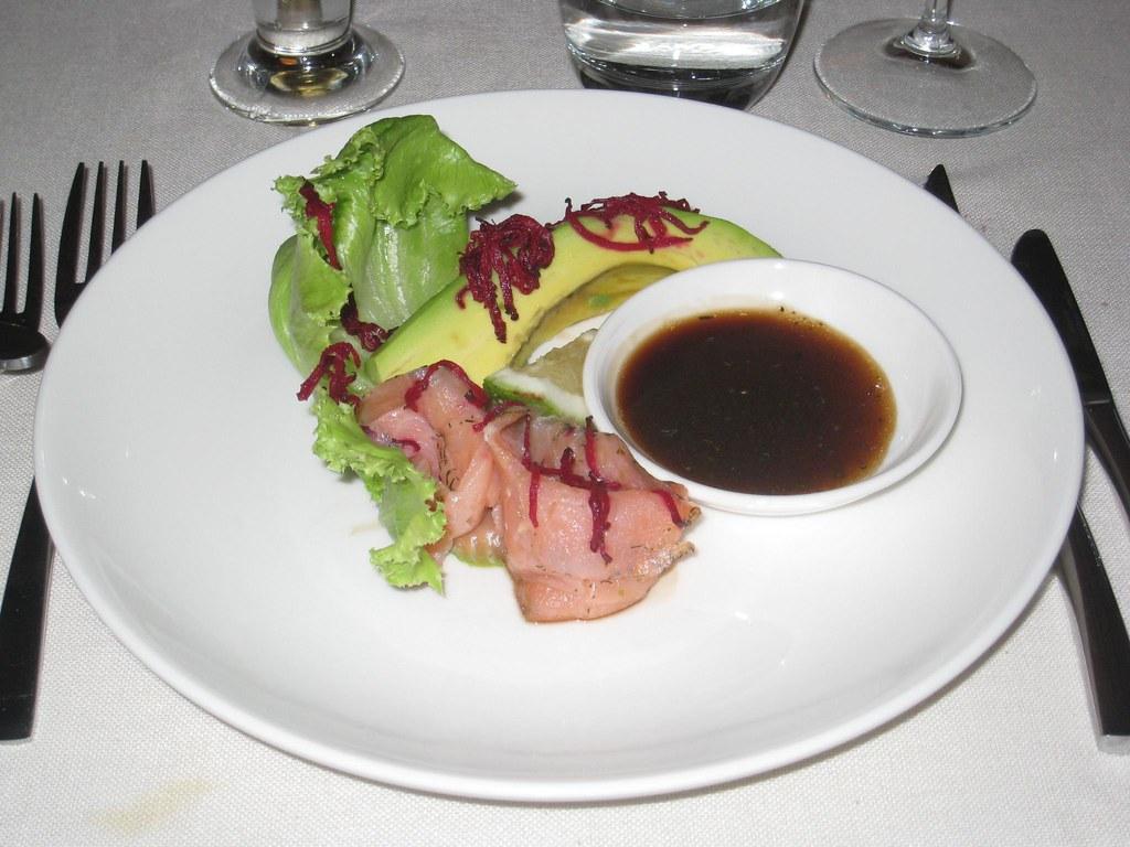 Smoked salmon & avocado salad, with a balsamic vinaigrette.