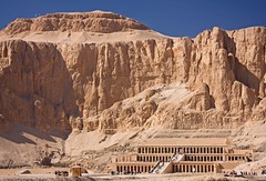 Temple in the Mountain (Matt Champlin) Tags: life old travel red mountains history mystery writing greek temple ancient god roman egypt middleeast carving structure queen egyptian temples mysterious aswan luxor pharoah valleyofthekings hieroglyphics hatshepsut glyphs historycal valleyofthequeen