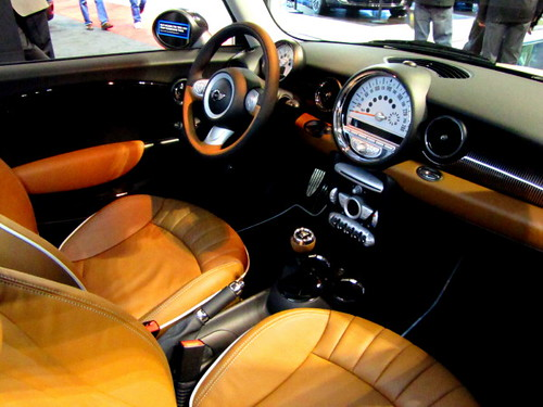 Dashboard and leather seats, Mini Cooper interior.