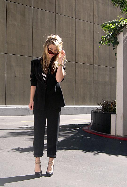 black suit striped shirt ankle chains -1 -sh-pp