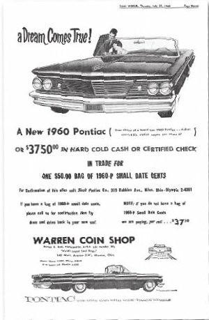 Coin World 1960 Pontiac ad