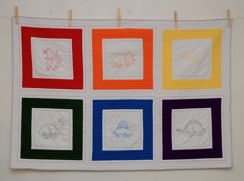 rainbow dinosaur mini-quilt