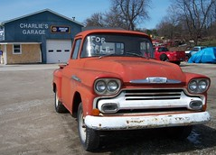 1958 Chevrolet Pick-up Truck (bjebie) Tags: ohio red chevrolet truck pickup pickuptruck chevy bumper rusted 1958 kansas suffield vintagevehicle unrestored portagecounty 58chevy needsrestoration doubleheadlights charliesgarage suffieldtownship kansastruck