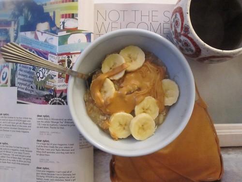 breakfast yummy sweet bowl banana oatmeal prettyfood oats almondbutter nutbutter sweetandsalty barneybutter