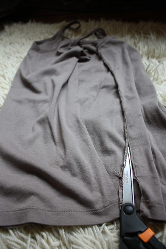 "Step 1: Cut Along Seam of ""Scrap Shirt"" (or Sleeves)"