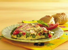 Spring Frittata (Pillsbury.com) Tags: food breakfast tomato pie bread recipe fry spring spears asparagus eggs brunch basil roll fried pillsbury bellpepper garnish skillet quiche frittata fritatta redbellpepper fritata cholesterolfree springfrittata
