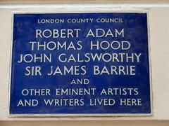Photo of Robert Adam, James M. Barrie, John Galsworthy, and Thomas Hood blue plaque