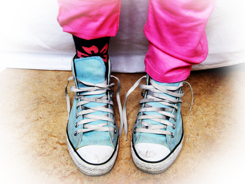 Blue Converse Pink Jeans
