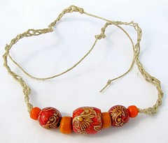 Red and orange hemp bracelet or anklet - Summer Fire