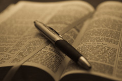 Open Bible with pen Antique Grayscale