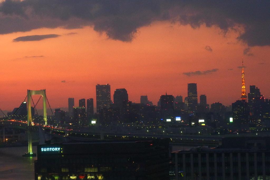 Tokyo Tower and Rainbow Bridge from daikanransha