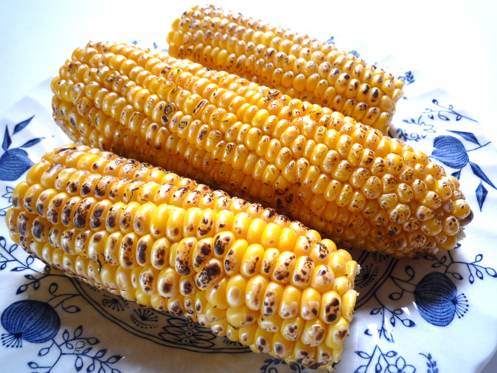 Blowtorched corn