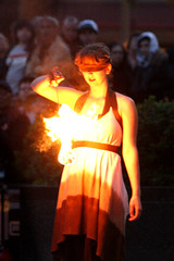 Temple of Poi Expo Fire Dancer (shaire productions) Tags: sf sanfrancisco city people woman man male nature girl mystery lady female pose outdoors temple fire person photography photo justice dance movement couple dancing expo natural blind image action unique candid stage character flames performance performing young dancer exhibition burning event flame burn photograph scales firedancing poi gathering mysterious april onstage activity mythology position element 2010 firedancer blindfolded firedance templeofpoi shaireproductions