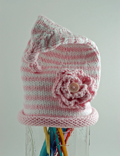 Pink and White Stripes with Flower 02