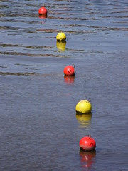 RYRYR (Nekoglyph) Tags: blue red water reflections harbour yorkshire whitby ripples colourful buoys yelloe buoyant