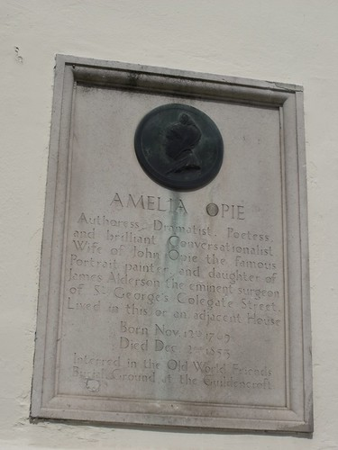 Plaque of Amelia Opie in Norwich