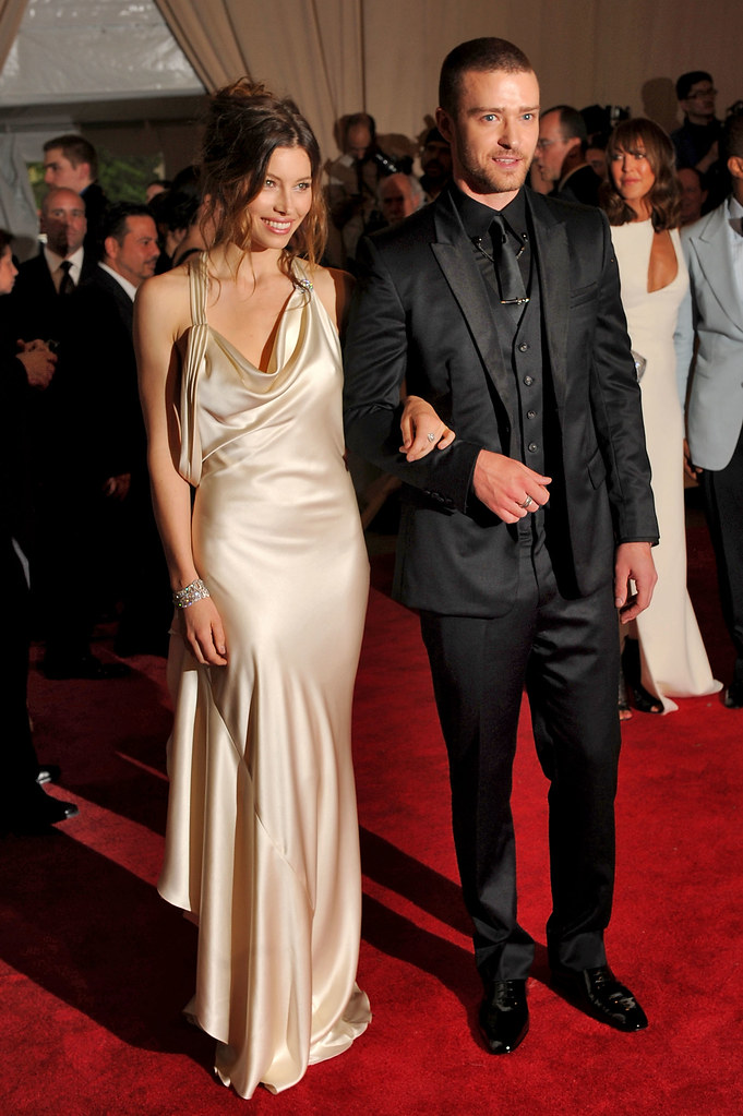 Jessica Biel, in Ralph Lauren with Fred Leighton jewels, and Justin Timberlake, in his own design for William Rast with Louis Vuitton shoes and Cartier watch and cuff links.