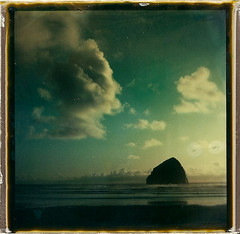 fade to black haystack rock cape kiwanda (polaroidmandy) Tags: ocean sea beach water rock clouds oregon landscape polaroid sx70 coast sand waves pacific pelican shore brewery haystack cape oregoncoast haystackrock f2b pacificcity capekiwanda kiwanda fadetoblack pelicanbrewery roidweek2010