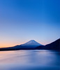 Fujiness (Clint Koehler) Tags: morning blue orange lake water japan sunrise asia earlymorning kanagawa dri mtfuji photomatix 5xp lakemotosu nikond700 142428