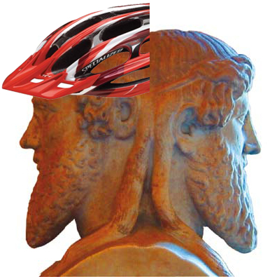 Janus in a bike helmet