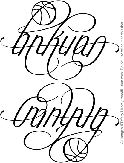 "A custom ambigram of the words ""Hakuna"" & ""Matata"", created for a tattoo"