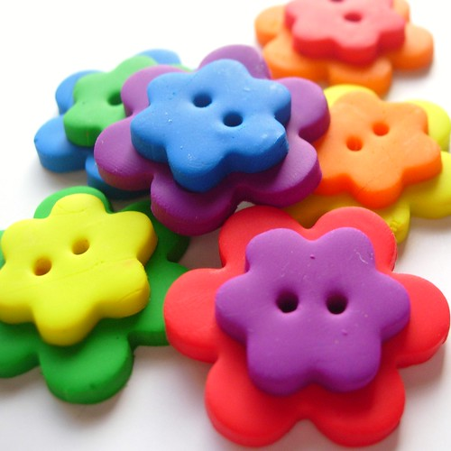 Double Rainbow Flower Buttons