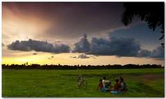 a lazy afternoon (Soumya Bandyopadhyay) Tags: sunset sky colors field clouds rural landscape farmers wide bengal westbengal gradnd premonsoon pentaxk200d pentax1855mmii