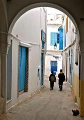 Tunisia (sfPhotocraft) Tags: street blue building boys alley arch northafrica tunisia tunis 2010