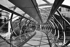 Pedestrian Bridge (pigsinspaces) Tags: uk bridge shadow blackandwhite bw scotland edinburgh trellis april crisscross 2010 vogonpoetry