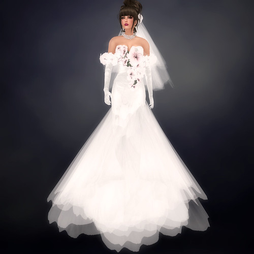 Bridal Gown from Nicky Ree Bridal Hibiscus Rose Collection Silver White