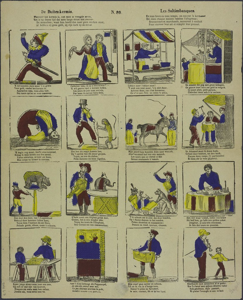 De buitenkermis - Les saltimbanques  by A Cranendoncq 1833-1869