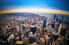 King Of The World! // A View From The Sears Tower (Tomasito.!) Tags: ocean city bridge blue light sea sky urban usa chicago tower art tourism water beautiful yellow architecture modern clouds america photoshop river painting landscape illinois amazing interesting nikon cityscape dusk steel sears horizon wideangle fisheye american idol northamerica vignette topoftheworld willis touristspot tallbuilding niceview kingoftheworld wideanglelens tomasito ultrawideangle d90 breathtakingview manmadestructures tallestbuildinginamerica