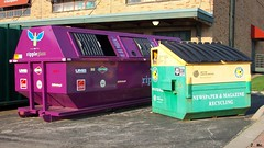 Recycling Dumpsters (TheTransitCamera) Tags: city glass dumpster paper purple bottles ripple cardboard kansas recycle kcmo