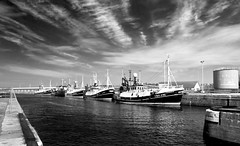 Peterhead Boats 1 (w11buc) Tags: bw canon boats scotland fishing aberdeenshire harbour postcard peterhead blacksandwhite 5photosaday blackwhitephotos greatscot efs1585mmisusm